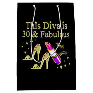 GOLD 30 AND FABULOUS 30TH BIRTHDAY DESIGN MEDIUM GIFT BAG