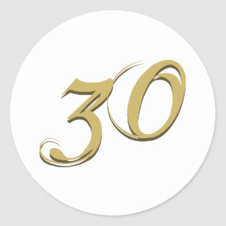 Gold 30th Birthday Gifts Classic Round Sticker