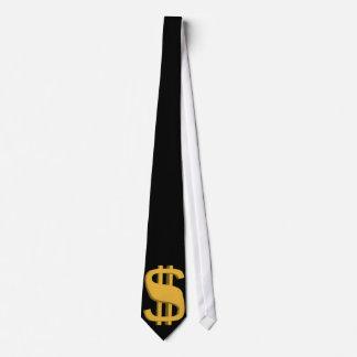 Gold 3D Dollar Sign Necktie