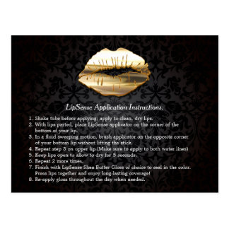 Gold 3D Lips Beauty Salon Makeup Instruction Tips Postcard