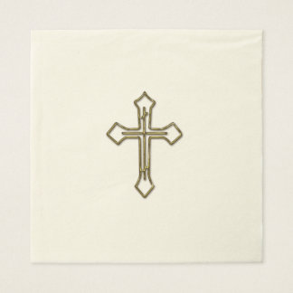 Gold 3D Looking Cross Outline Disposable Napkin
