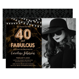 Gold 40th Birthday Party  - 40 & Fabulous Card