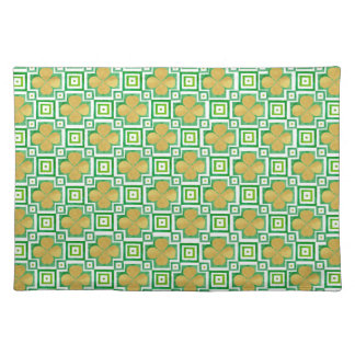 Gold 4-Leaf Clover Green Watercolor Block Pattern Placemat