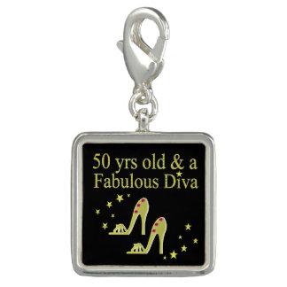 GOLD 50 & FABULOUS DIVA DESIGN CHARM