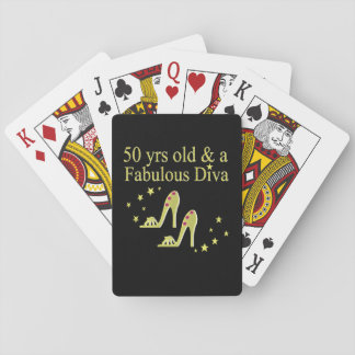GOLD 50 & FABULOUS DIVA DESIGN PLAYING CARDS