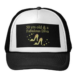 GOLD 50 & FABULOUS DIVA DESIGN TRUCKER HAT