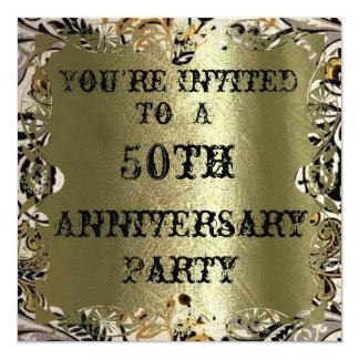 """Gold 50th Anniversary Party Invitation 5.25"""" Square Invitation Card"""