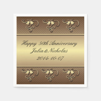 Gold 50th Anniversary Personalized Napkins Paper Napkin