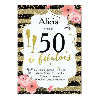 Gold 50th birthday invitation
