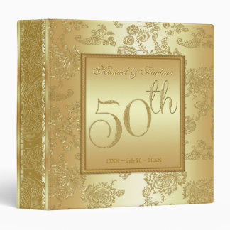 Gold 50th  Wedding Anniversary Keepsake Binder