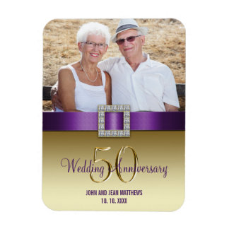 Gold 50th Wedding Anniversary Magnet Purple