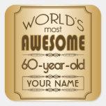Gold 60th Birthday Celebration World Best Fabulous Square Sticker