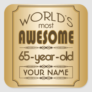 Gold 65th Birthday Celebration World Best Fabulous Square Sticker
