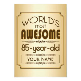"Gold 85th Birthday Celebration World Best Fabulous 5"" X 7"" Invitation Card"