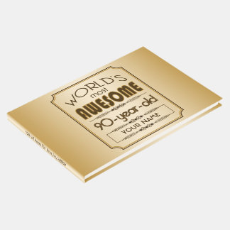 Gold 90th Birthday Celebration World Best Fabulous Guest Book