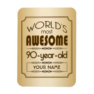 Gold 90th Birthday Celebration World Best Fabulous Rectangular Photo Magnet
