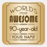 Gold 90th Birthday Celebration World Best Fabulous Square Sticker