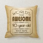 Gold 90th Birthday Celebration World Best Fabulous Throw Pillow