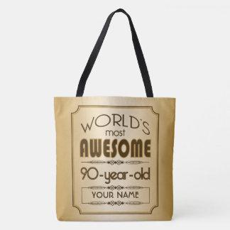Gold 90th Birthday Celebration World Best Fabulous Tote Bag