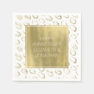 Gold Abstract Circles Personalized Napkin