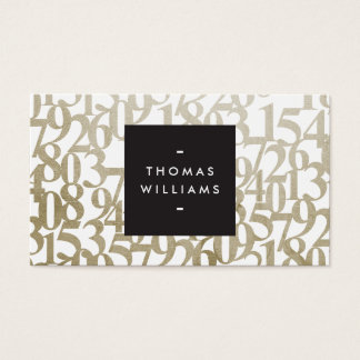 Gold Abstract Numbers for Accountants, Accounting Business Card