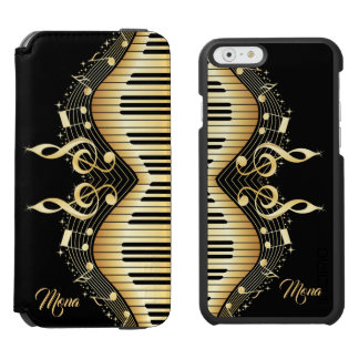 Gold Abstract Piano Design Black Background Incipio Watson™ iPhone 6 Wallet Case