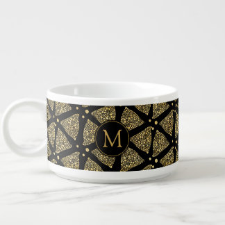 Gold Abstract triangles Modern Pattern Chili Bowl