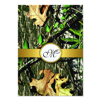 Gold Accented Hunting Camo Wedding Invitations