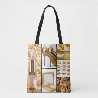 Gold Accessories Glamorous Fashion Collage Tote Bag