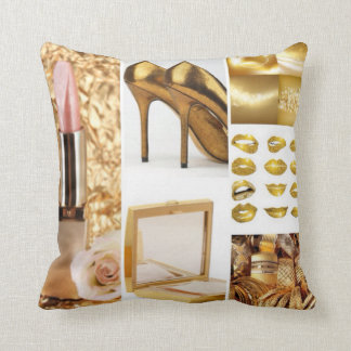 Gold Accessories Glamorous Fasion Collage Throw Pillow