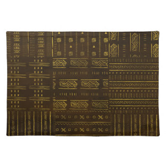 Gold African Tribal Pattern on rich brown texture Placemat
