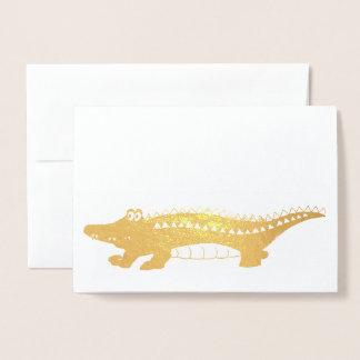 Gold Alligator Later Gator Croc Crocodile Reptile Foil Card