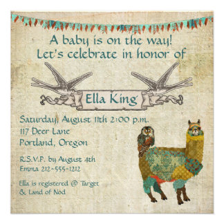 Gold Alpaca Teal Owl Baby Invitation