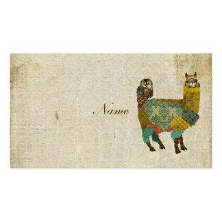 Gold Alpaca & Teal  Owl Business Card/Tags