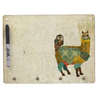 Gold Alpaca & Teal Owl  Dry Erase Board