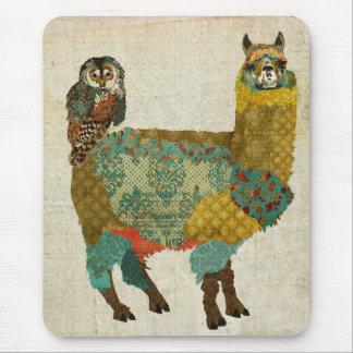 Gold Alpaca & Teal Owl Mousepad