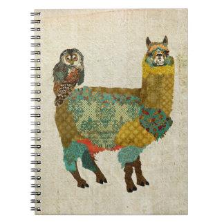 Gold Alpaca Teal Owl Notebook