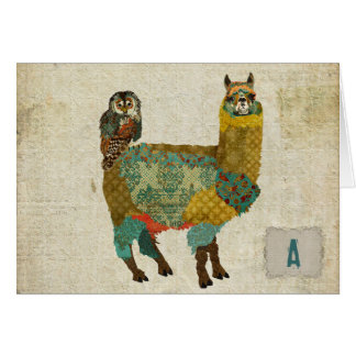 Gold Alpaca & Teal Owl Notecard Stationery Note Card