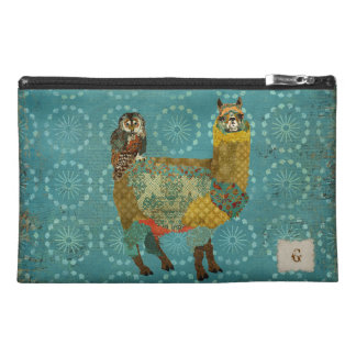 Gold Alpaca Teal Owl Travel Accessory Bag