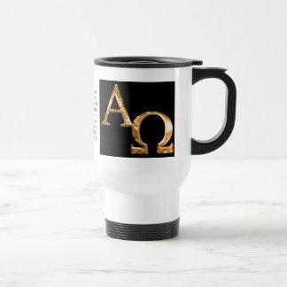 Gold Alpha and Omega symbols on black background. Travel Mug
