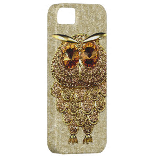 Gold & Amber Owl Jewel PRINTED IMAGE Case For The iPhone 5
