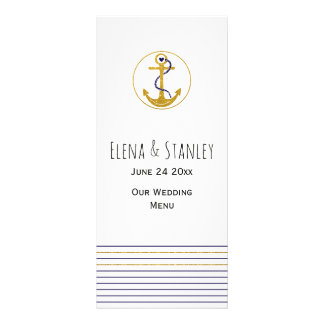 Gold anchor and stripes nautical wedding menu card
