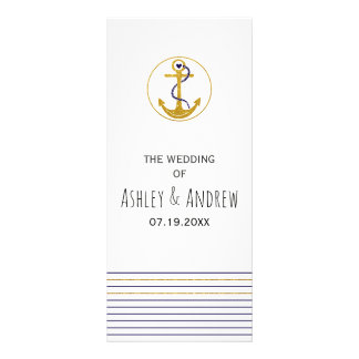 Gold anchor and stripes nautical wedding program