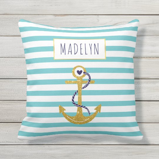Gold anchor aqua striped pattern summer nautical throw pillow