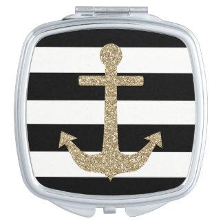Gold Anchor Black/White Square Compact Mirror