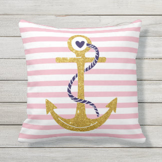 Gold anchor blush pink, white stripes nautical outdoor pillow