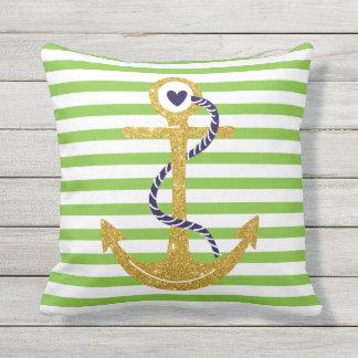 Gold anchor green, white stripes nautical throw pillow