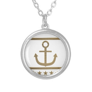 gold anchor happiness symbol silver plated necklace