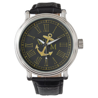 Gold Anchor Monogram Your Color Personalize Wristwatch
