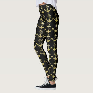 Gold Anchor Nautical Leggings